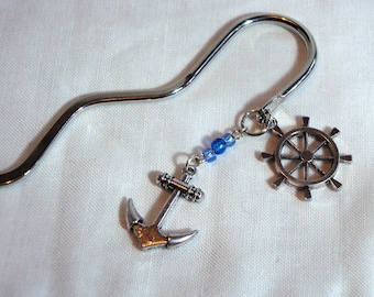 Ship's Wheel and Anchor Bookmark