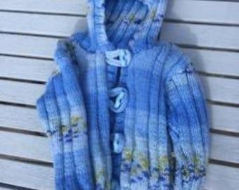 Blue hoodie, baby boys hooded jacket, sweater, blue hooded sweater, 3 - 9 months newborn boys sweater,