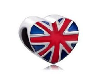Britain Bead, United Kingdom Charm, Union Jack, Large Hole Bead, European Bead, Charm Bead, Charm Bracelet, European Charm, Red, Blue, White