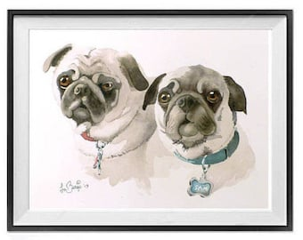 Pet Portrait Personalized Custom painting of 2 of your pets cat dog bird Original watercolor painting Commission custom portraits