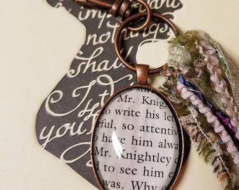 Mr. Knightley Bag Charm - Purse Charm. Key Chain. Key Fob. Jane Austen. Emma. Literary Gift. Teacher Gift. Wedding. Engagement.