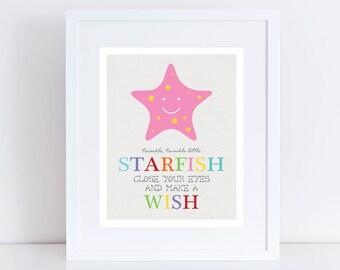 "twinkle little starfish nursery art - 10x8"" or 5x7"" print colourful sea ocean beach nursery decor nautical boy girl gender neautral bright"