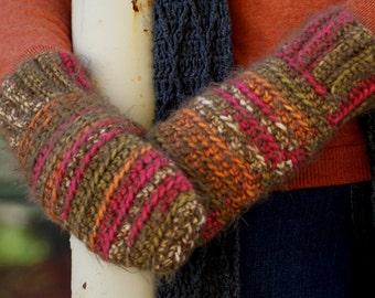 Olive Stripe Crochet Handmade Mittens