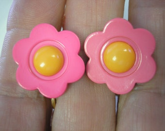 Play Earring - Clip - Very Bright Flower - Pink/Orange - 3/4""