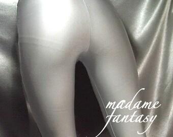 Shiny silver spandex leggings