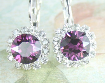 crystal earrings,amethyst crystal earrings,swarovski earrings,purple crystal earrings,purple wedding,amethyst bridesmaid,amethyst wedding