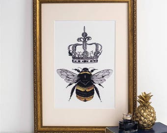 Queen Bee Art Print - bumble bee art print - bumble bee art work - crown - honey bee - bee gift - christmas gifts - vintage time traveller
