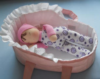 Waldorf doll, waldorf baby doll, waldorf sleeping doll, baby doll cradle