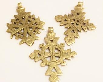 Small Ethiopian Brass Crosses, Ethnic Pendant, African Brass Pendants (T119)
