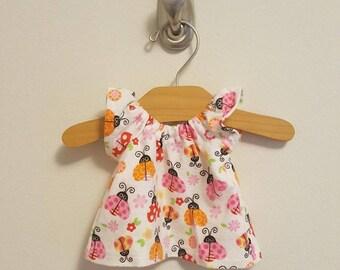12 inch Waldorf Doll Clothes - Ladybug Nightgown