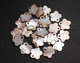10pc - pearls mother of Pearl flower 15mm Beige ivory - 4558550039965 charms
