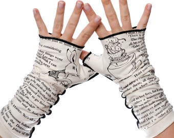 Alice in Wonderland Writing Gloves - Fingerless Gloves, Arm Warmers, Lewis Caroll, Literary, Book Lover, Books, Reading