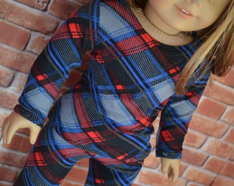 18 inch Doll Clothes - Plaid Long sleeved T-shirt - RED BLUE GREY - fits American Girl