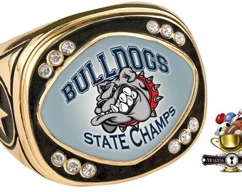 Custom Designed Sublimated Championship Rings - Team Rings - Only Color Top Inset Plate is Customizable - Gold Ring Only