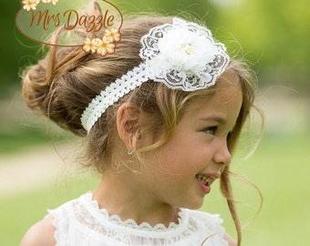 Baptism Headband, Christening Headband, Off white headband, Floral headband, White headband, Communion Headband, Flower girl headband