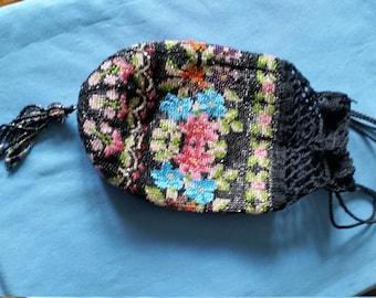 Antique Glass Beaded Crochet Reticule Drawstring Flapper Purse Handbag