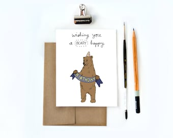 Punny Birthday Card, Funny Birthday Card, Birthday Card for him, Boyfriend Birthday Card, Best Friend Birthday Card, Bear Cards