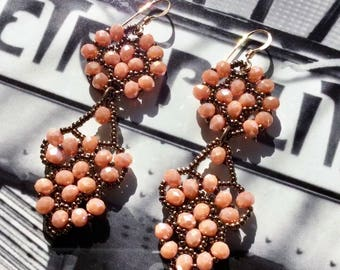Mother's day, gift for mom, Vintage style beaded earrings, Retro dangling earrings, Salmon bronze earrings, Gifts for her, made in Greece