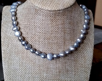 Silver Gray Pearl Necklace