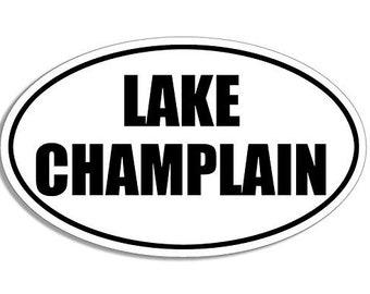 B/W Oval Champlain Lake Sticker (National Park)