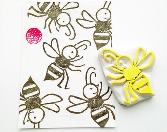 honey bee rubber stamp | insect stamp | woodland birthday scrapbooking | spring crafts | diy gift wrapping | hand carved by talktothesun