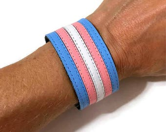 Trans pride leather bracelet, transgender, transgenderwoman, transgenderman, transpride, mtf, ftm,transgenderboy, transgirl, transboy.