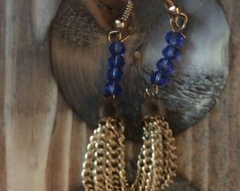 Blue Tassel Drop Earrings