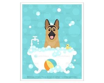 433D Dog Art - German Shepherd in Bubble Bath Wall Art - Dog Taking Bath - Bath Art - German Shepherd Art - Dog Drawing - Bath Wall Decor