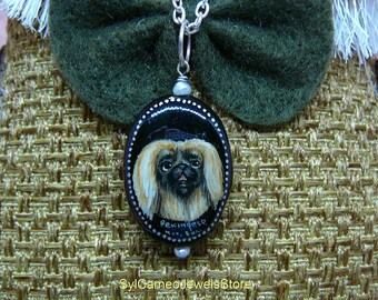 Pekingese Dog Hand Painted Cameo Pendant Necklace Original Wearable Art Jewelry SylCameoJewelsStore