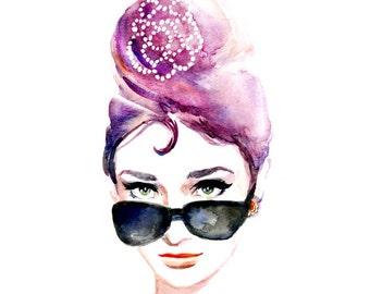 Audrey Hepburn Iconic  Sunglasses - Breakfast at Tiffanys - Print of Original Watercolor Painting