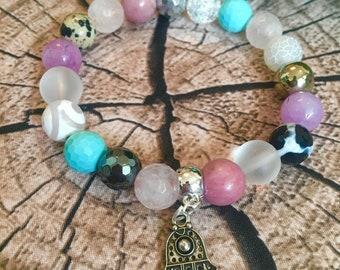 Handmade gemstone beaded bracelet with Fatima's hand