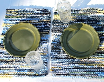 Cottage Chic Placemats Knitted Upcycled TShirts Navy Blue Sky Green Yellow Gray White (set of 2) Country Trivets-- US Shipping Included