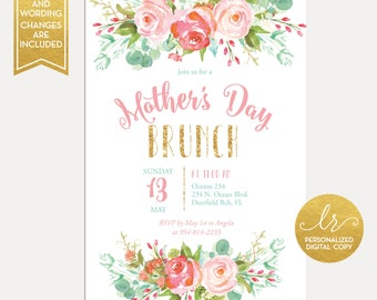Floral Mother's Day Brunch Invitation - Mother's Day Luncheon - Brunch Invitation - Mother's Day Tea Party - Printable Invitation - LR1050W