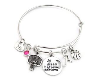 Basketball Bracelet, Basketball Gifts, Basketball Jewelry, Basketball Bangle,Gifts for Basketball,Girls Basketball Gift,Basketball Team Gift