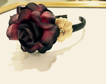 Dark Red and Gold Flower Headband with Leopard Gemstones