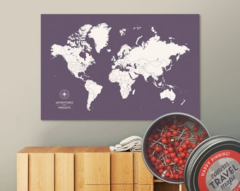 Push Pin Map (Dusk) Push Pin World Map Pin Board World Travel Map on Canvas Push Pin Travel Map Personalized Wedding/Anniversary Gift