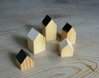 Happy Little Neighborhood - Wood Block Houses - B/W - Black and White - Natural Wood