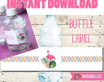 Flamingo Bottle Label, Pool Party, Flamingo Water Bottle label, Water Bottle, Flamingo decoration, Flamingo party, Party, Digital, Printable