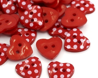 30 x heart shape red polka dot buttons