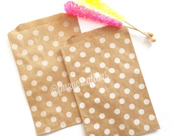 Kraft Favor Bag | KRAFT Polka Dot Favor Bags (5x7) | Woodland Baby Shower Favors | Boho Chic Birthday Party | Rustic Baby SHower Wedding