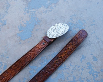 vintage Tooled Leather Belt -  Floral Tooled Brown Leather Belt with Etched Metal Buckle Sz L XL XXL