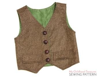 Vest Pattern, Boys VEST pattern, Toddler Vest Pattern, Girls Vest Pattern, Vest Sewing Pattern, Waistcoat Pattern, Simple Vest Pattern, PDF