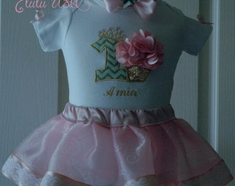 Baby Girl 1st Birthday Outfit,One year old girl Pink and Gold Girls Birthday Outfit,Cupcake Girls Birthday outfit,Personalized Girls 1st