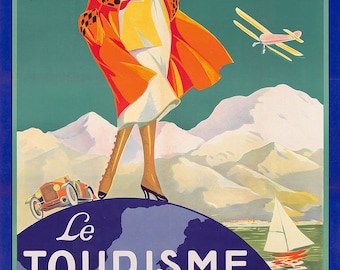 Vintage French travel poster ~ reprint - 1920s decor ~ Cottage decor ~ Le Tourisme Moderne ~ Modern Tourist ~ art deco