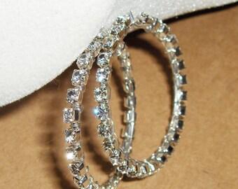 Rhinestone Elegance Earrings SS/Silvertone