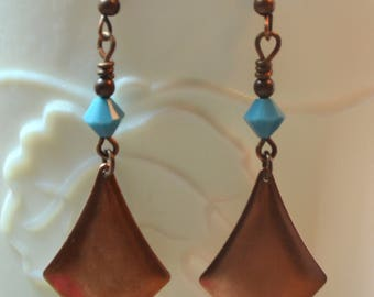 Copper Triangle Earrings with Swarovski Crystals