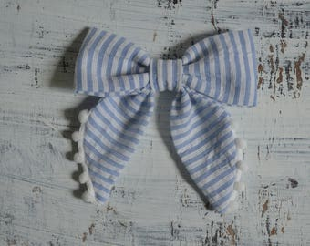 Light Blue and White Pinstripe/ Striped Sailor Hair Bow