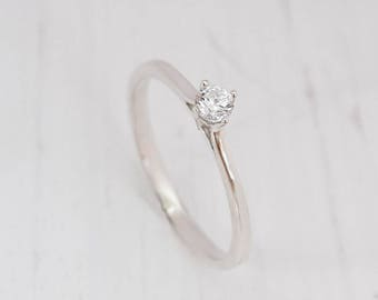 Delicate ring, Silver solitaire ring, Promise ring for her, Minimalist ring, Tiny ring, Small ring, Cz ring silver, White stone ring