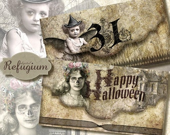 printable halloween envelope instant download/ digital collage sheet