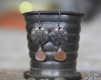 Mandala Peach Moonstone Earrings